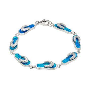 Lab-Created Blue Opal Sterling Silver Flip-Flop Bracelet