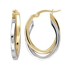 Everlasting Gold Two Tone 14k Gold Oval Hoop Earrings by
