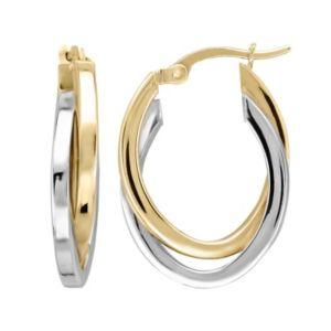 14k Gold Two Tone Hoop Earrings