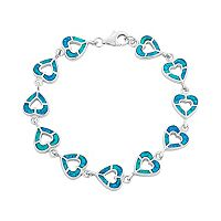 Lab-Created Opal Sterling Silver Reversible Heart Bracelet