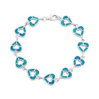 Lab-Created Opal Sterling Silver Reversible Heart Bracelet