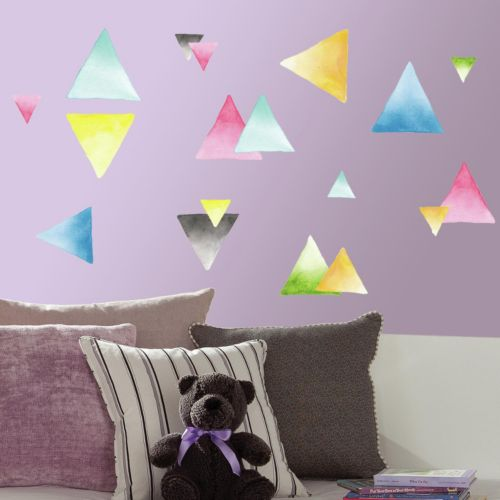 Watercolor Triangle 76-piece Peel and Stick Wall Decal Set