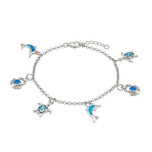 Lab-Created Blue Opal Sterling Silver Turtle, Dolphin & Crab Charm Bracelet