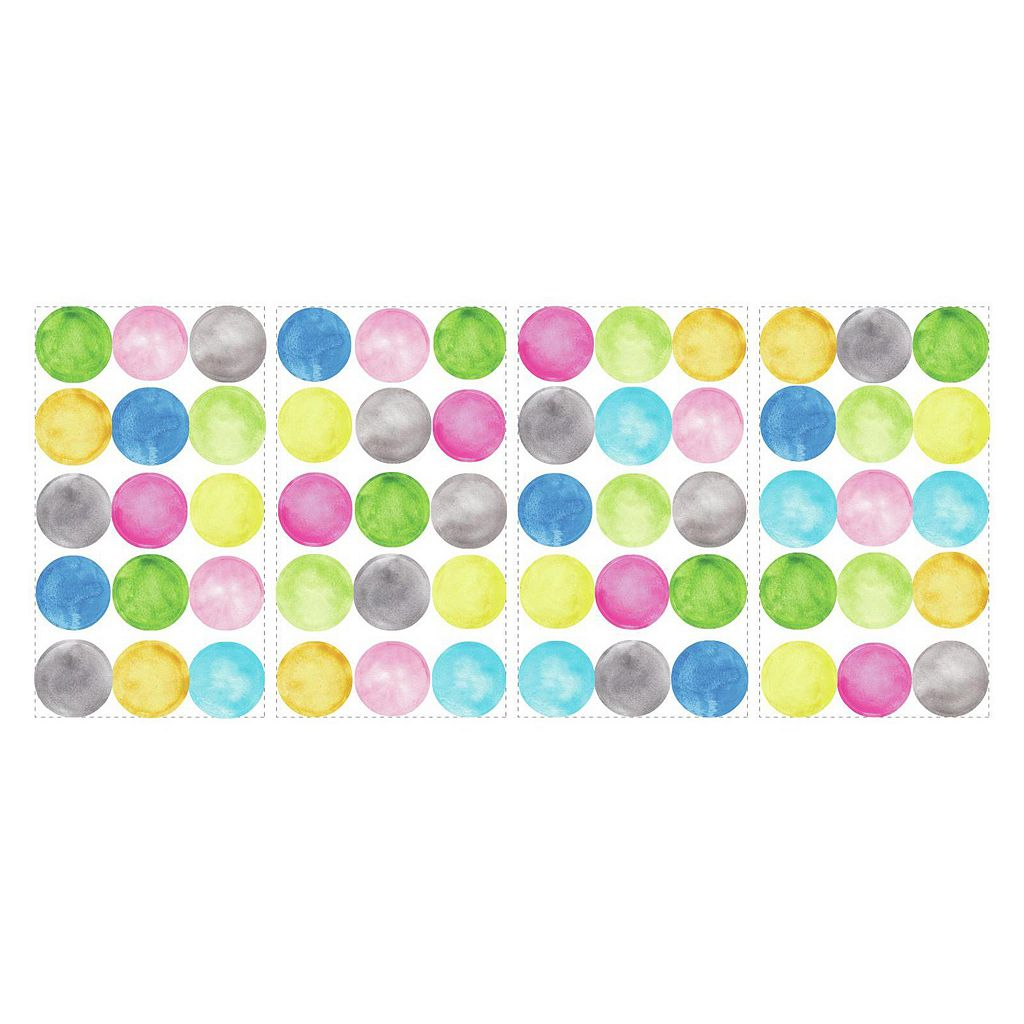 Watercolor Dots 60-piece Peel and Stick Wall Decal Set