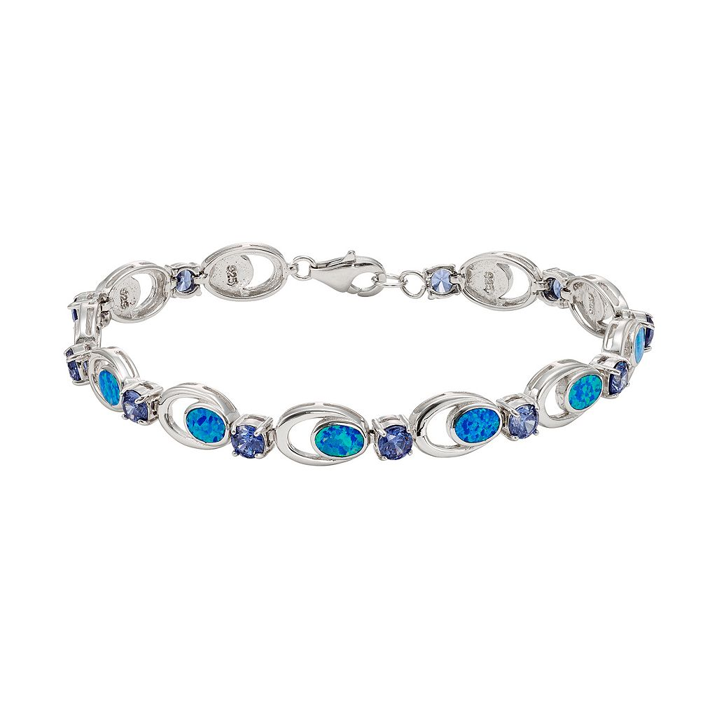 Lab-Created Blue Opal & Cubic Zirconia Sterling Silver Bracelet