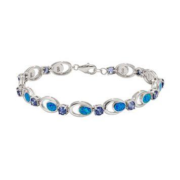 Lab-Created Blue Opal & Cubic Zirconia Sterling Silver Bracelet