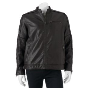 Big & Tall Marc Anthony Slim-Fit Faux-Leather Moto Jacket