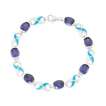 Lab-Created Blue Opal & Cubic Zirconia Sterling Silver Infinity Bracelet