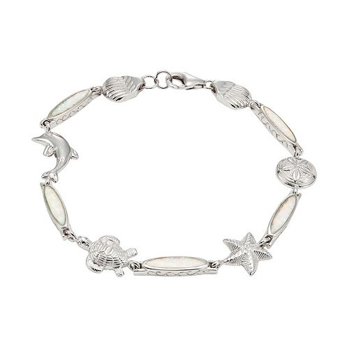 Lab-Created Opal Sterling Silver Turtle, Dolphin, Starfish & Seashell Bracelet