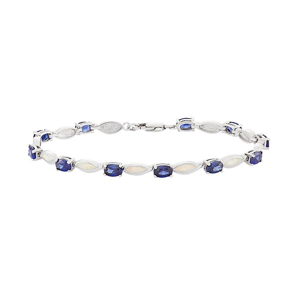 Lab-Created Opal & Cubic Zirconia Sterling Silver Bracelet