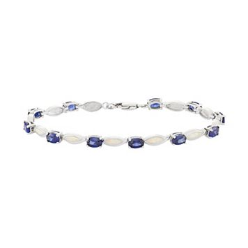 Lab-Created Opal & Cubic Zirconia Sterling Silver Bracelet