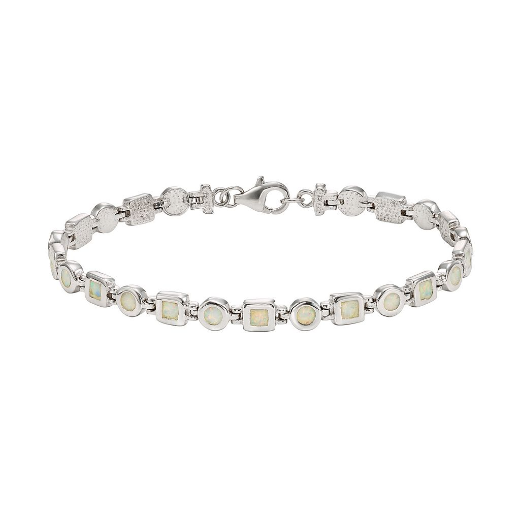 Lab-Created Opal Sterling Silver Circle & Square Link Bracelet