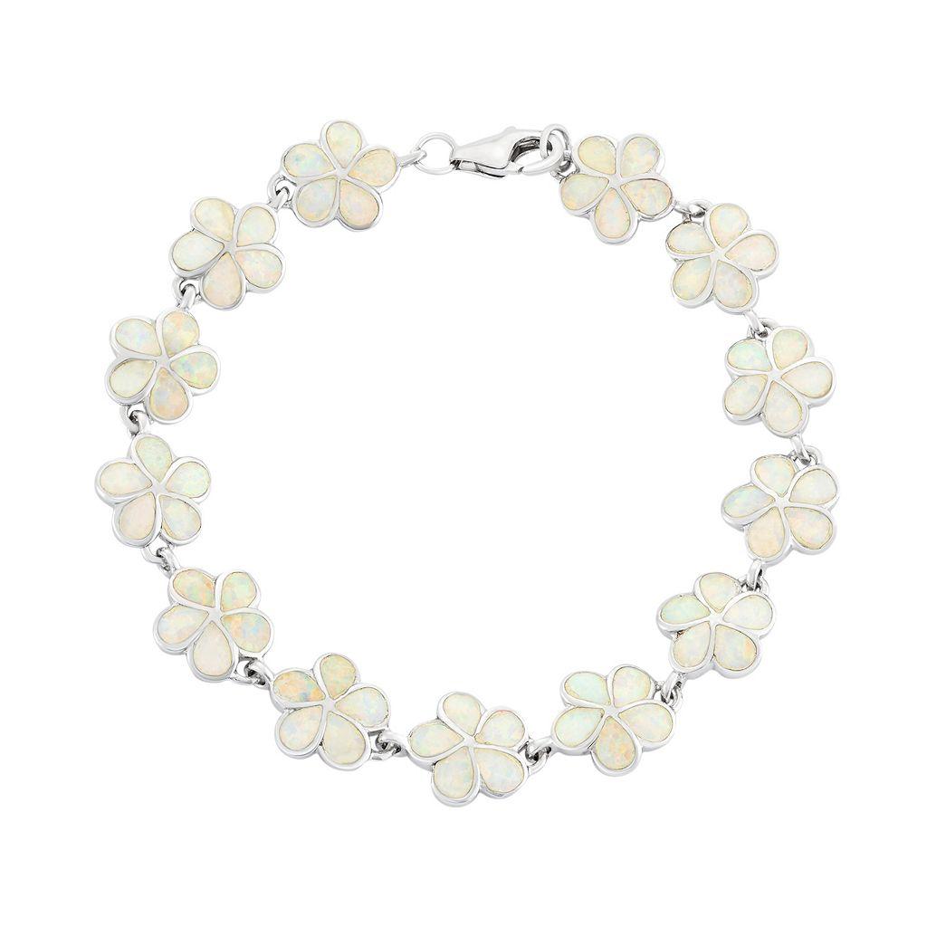 Lab-Created Opal Sterling Silver Flower Bracelet