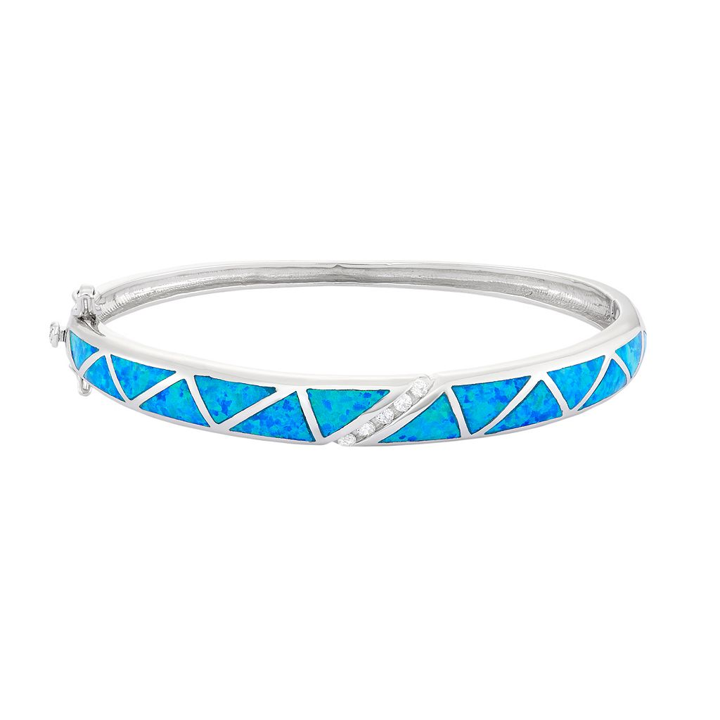 Lab-Created Blue Opal & Cubic Zirconia Sterling Silver Bangle Bracelet