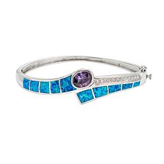 Lab-Created Blue Opal & Cubic Zirconia Sterling Silver Bypass Bangle Bracelet