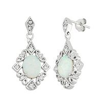 Lab-Created Opal & Cubic Zirconia Sterling Silver Drop Earrings