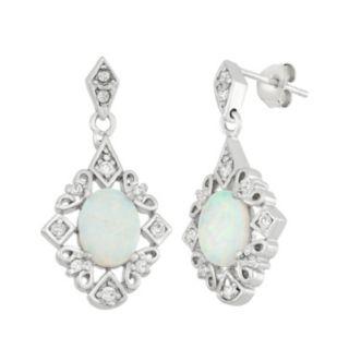 Lab-Created Opal & Cubic Zirconia Sterling Silver Drop Earrings