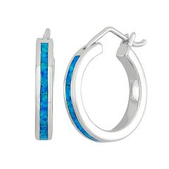 Lab-Created Blue Opal Sterling Silver Hoop Earrings