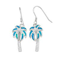 Lab-Created Blue Opal Sterling Silver Palm Tree Drop Earrings
