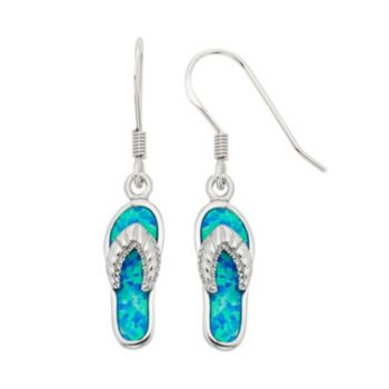 Lab-Created Blue Opal Sterling Silver Flip-Flop Drop Earrings