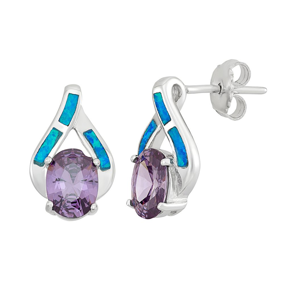 Cubic Zirconia & Lab-Created Blue Opal Sterling Silver Stud Earrings