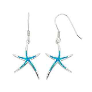 Lab-Created Blue Opal Sterling Silver Starfish Drop Earrings