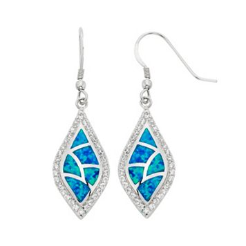 Lab-Created Blue Opal & Cubic Zirconia Sterling Silver Drop Earrings