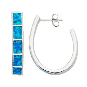 Lab-Created Blue Opal Sterling Silver U-Hoop Earrings