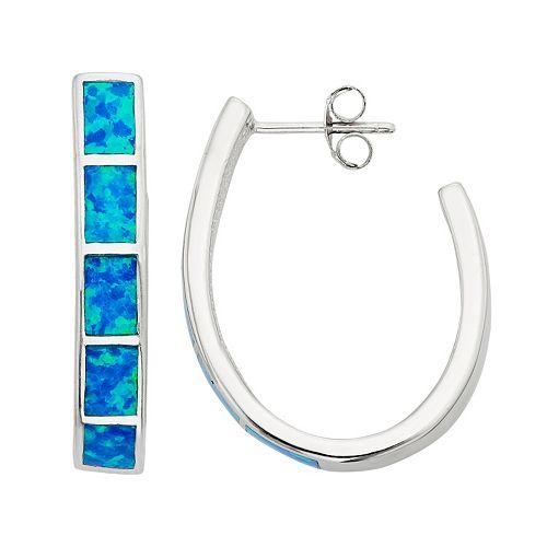 Lab-Created Blue Opal Sterling Silver U-Hoop Earrings