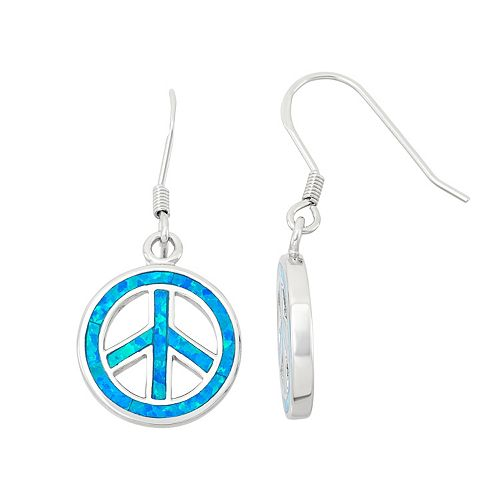 Lab-Created Blue Opal Sterling Silver Peace Sign Drop Earrings