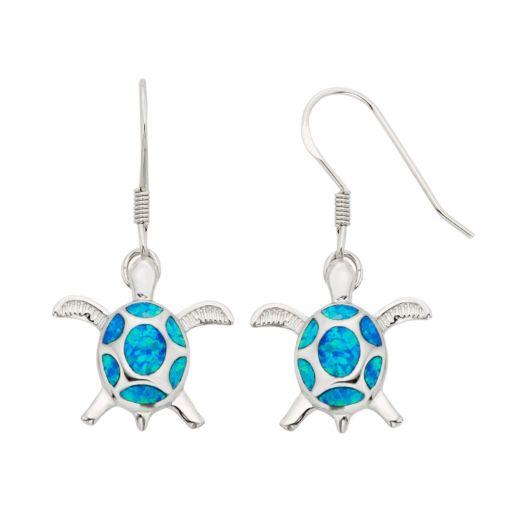 Lab-Created Blue Opal Sterling Silver Turtle Drop Earrings
