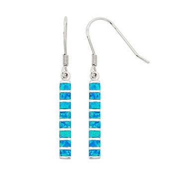 Lab-Created Blue Opal Sterling Silver Stick Drop Earrings
