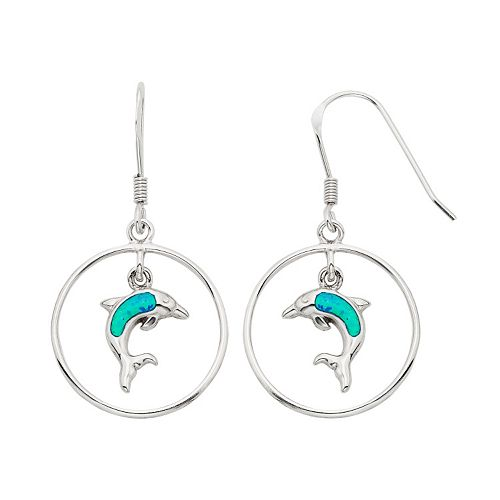 Lab-Created Blue Opal Sterling Silver Dolphin Hoop Drop Earrings