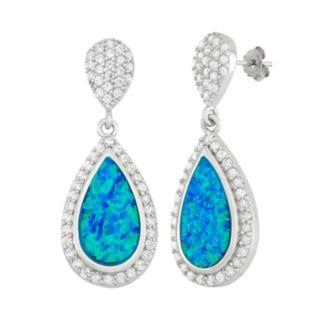 Lab-Created Blue Opal & Cubic Zirconia Sterling Silver Teardrop Earrings