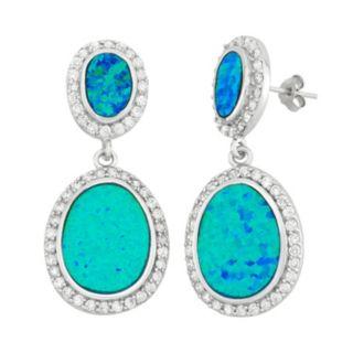 Lab-Created Blue Opal & Cubic Zirconia Sterling Silver Oval Drop Earrings