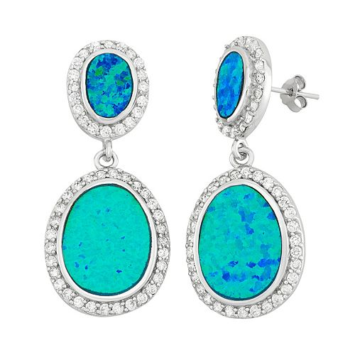 Lab-Created Blue Opal & Cubic Zirconia Sterling Silver Oval Drop Earrings
