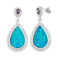 Lab-Created Blue Opal & Cubic Zirconia Sterling Silver Teardrop Earrings