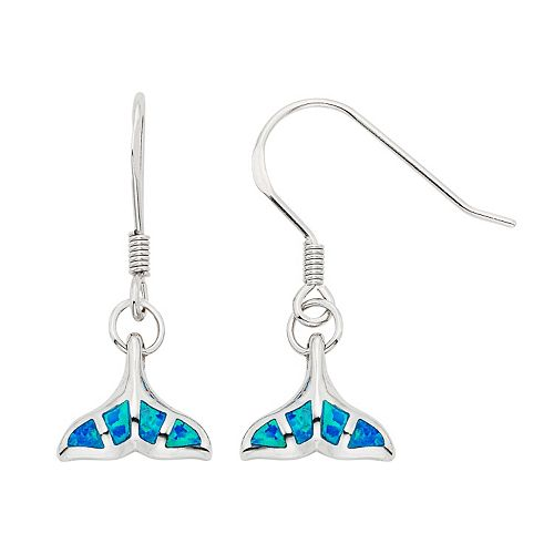 Lab-Created Blue Opal Sterling Silver Whale Tail Drop Earrings