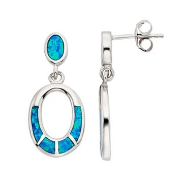 Lab-Created Blue Opal Sterling Silver Oval Hoop Drop Earrings