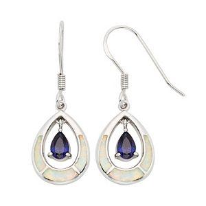 Lab-Created Opal & Cubic Zirconia Sterling Silver Teardrop Earrings