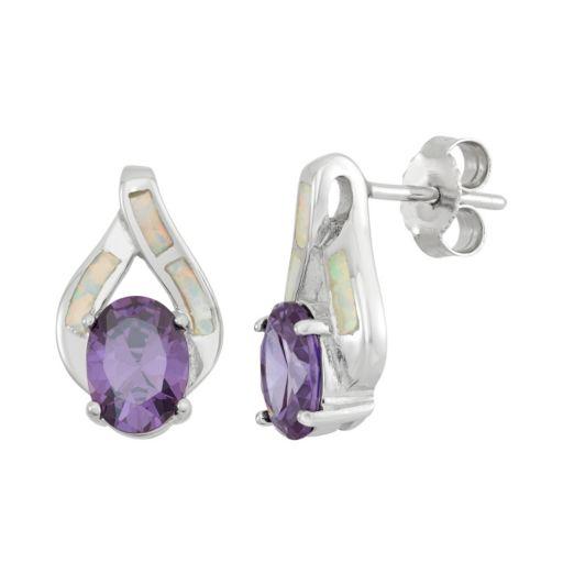 Lab-Created Opal & Cubic Zirconia Sterling Silver Teardrop Stud Earrings