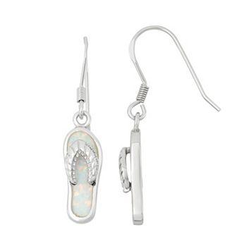 Lab-Created Opal Sterling Silver Flip-Flop Drop Earrings