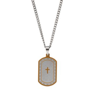 """Men's Two Tone Stainless Steel """"The Lord's Prayer"""" Dog Tag Necklace"""