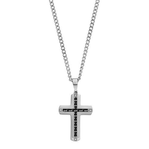 Men's Stainless Steel & Carbon Fiber Cross Pendant Necklace