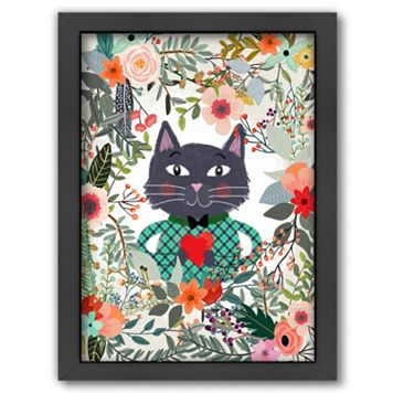 Americanflat Flower Cat Framed Wall Art