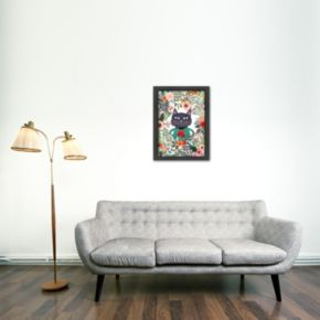 Americanflat Flower Cat Framed Wall Art