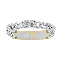 Stainless Steel Two Tone 'The Lord's Prayer' ID Bracelet - Men