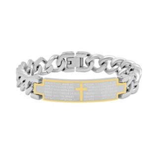 """Stainless Steel Two Tone """"The Lord's Prayer"""" ID Bracelet - Men"""