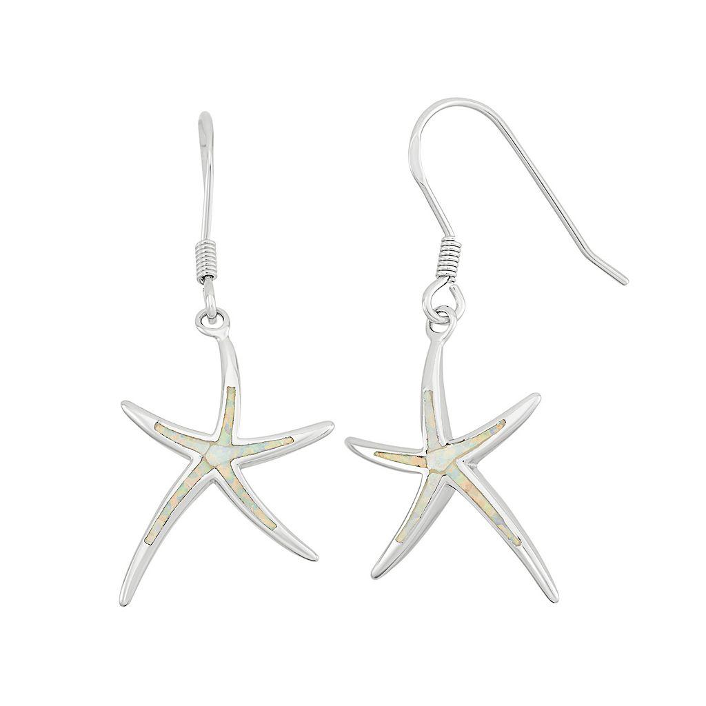 Lab-Created Opal Sterling Silver Starfish Drop Earrings