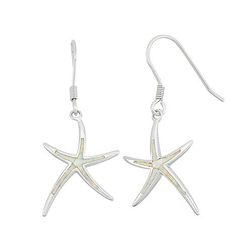Lab-Created Opal Sterling Silver Starfish Drop Earrings